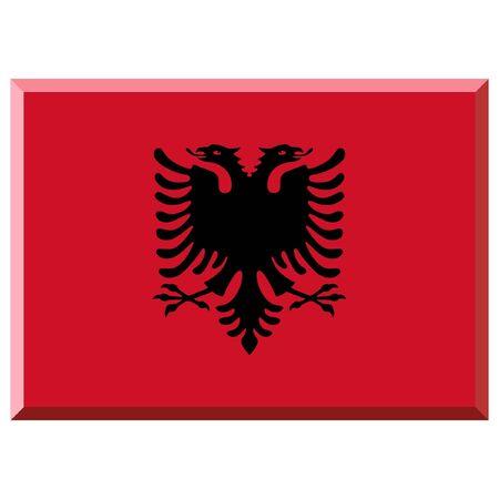 albania: Flag of Albania with 3D border
