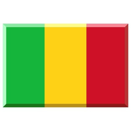 mali: Flag of Mali with 3D border