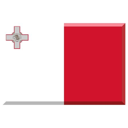 malta: Flag of Malta with 3D border