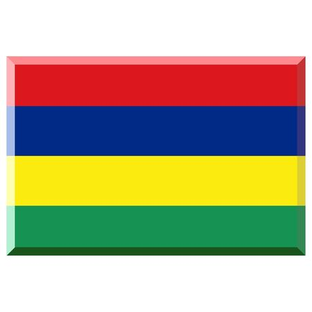 mauritius: Flag of Mauritius with 3D border