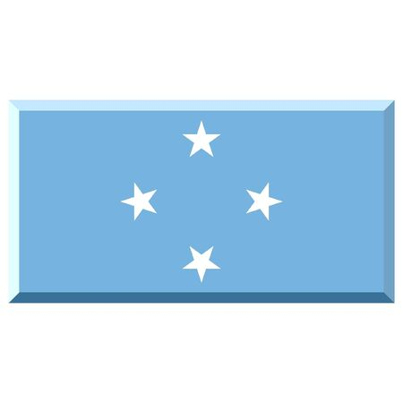 micronesia: Flag of Micronesia with 3D border 스톡 사진