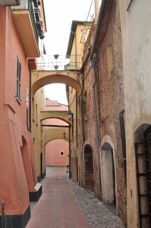 medioeval: The Carrugio di Toirano, narrow streets in the old town
