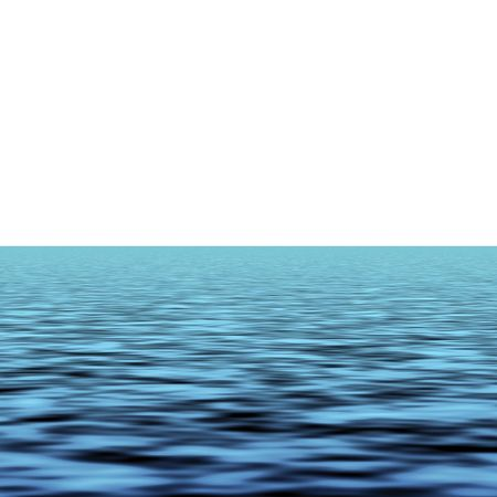 Blue sea waves over white background horizon