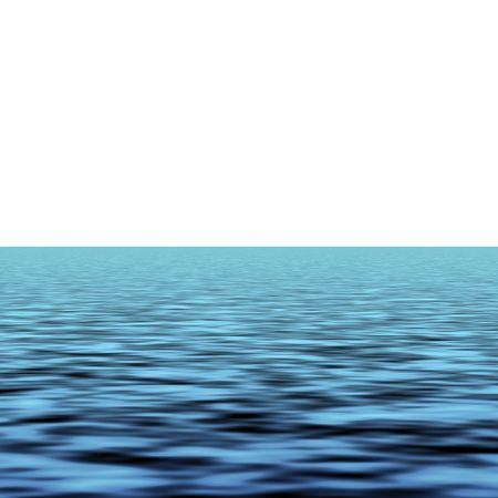 horizont: Blue sea waves over white background horizon