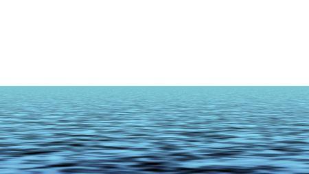 Blue sea waves over white background horizon photo