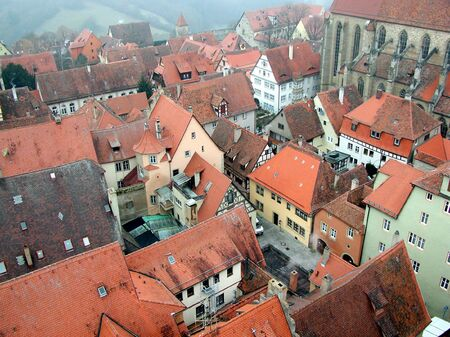 birdeye: View of the town of Rothenburg in Germany Stock Photo