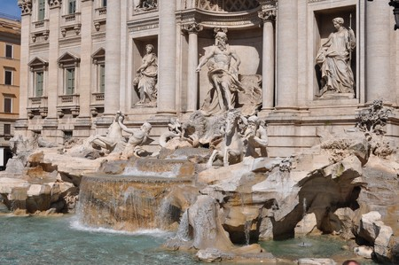 Baroque Trevi Fountain (Fontana di Trevi) in Rome, Italy photo