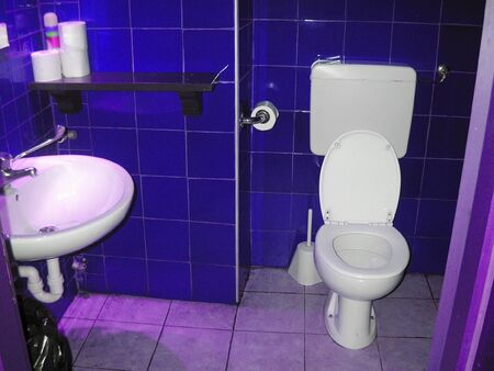 water closet: A toilet with water closet and water basin