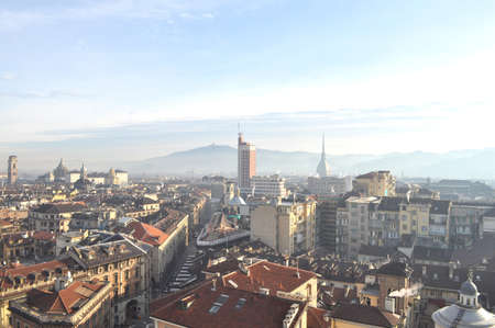 birdeye: City of Turin (Torino) skyline panorama birdeye seen from above Stock Photo
