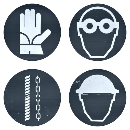 protective wear: Protective wear and safety at work signs