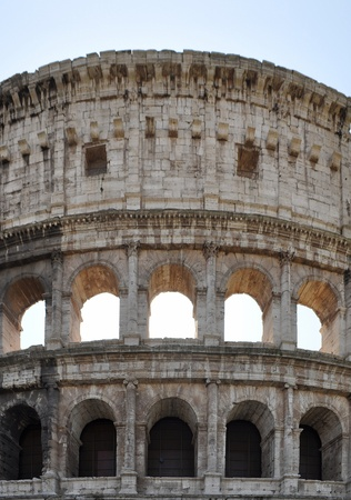 The Colosseum or Coliseum (Colosseo) in Rome - rectilinear frontal view photo