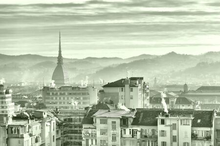 birdeye: City of Turin (Torino) skyline panorama birdeye seen from above - HDR (High Dynamic Range)