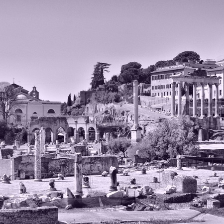 Ruins of the Roman Forum (Foro Romano) in Rome, Italy - high dynamic range HDR photo