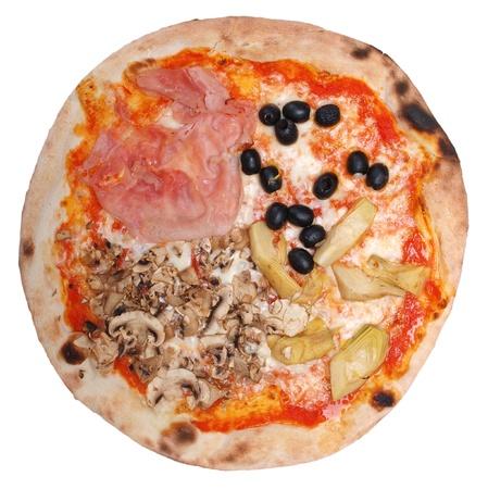 Italian Four Seasons Pizza (Pizza Quattro Stagioni) - isolated over a white background photo