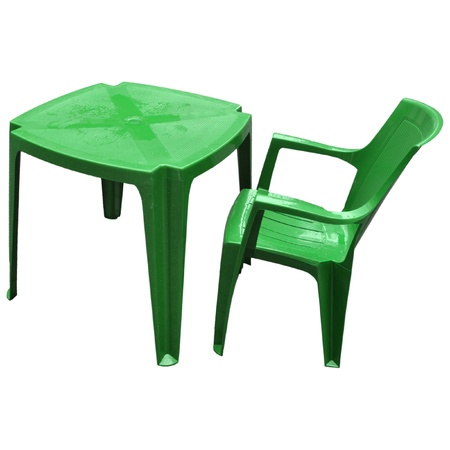 alfresco: Plastic table and chair for alfresco bar isolated over white background