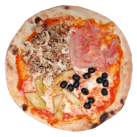 Italian Four Seasons Pizza (Pizza Quattro Stagioni) - isolated over a white background