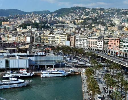 genoa: View of the town of Genoa in Italy