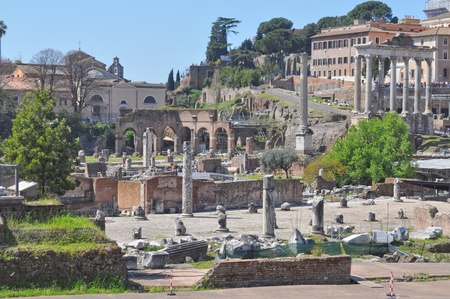 Ruins of the Roman Forum (Foro Romano) in Rome, Italy Stock Photo