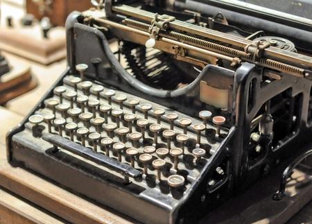 Detail of a vintage mechanical typewriter machine photo