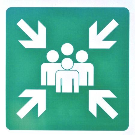 asamblea: Signo de la Asamblea punto en caso de incendio - aisladas sobre fondo blanco Foto de archivo