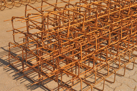 Reinforcing bar aka reinforcing steel or rebar for reinforced concrete structure photo