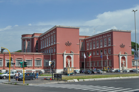 fascist: ROME, ITALY - JUNE 24, 2014: Foro Italico aka Foro Mussolini sports complex built between 1928 and 1938 under the design of Enrico Del Debbio and Luigi Moretti is a masterpiece of Fascist architecture