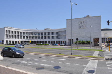 rationalism: ROME, ITALY - JUNE 23, 2014: INPS Istituto Nazionale della Previdenza Sociale meaning National Institute of Pensions in a masterpiece of Fascist architecture