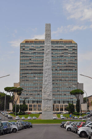 obelisco: ROME, ITALY - JUNE 23, 2014: Obelisco Marconi meaning Marconi Obelisk