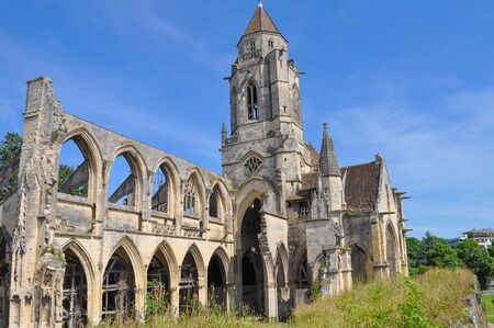 abbey ruins abbey: Ruins of Caen Abbey in Caen France Stock Photo