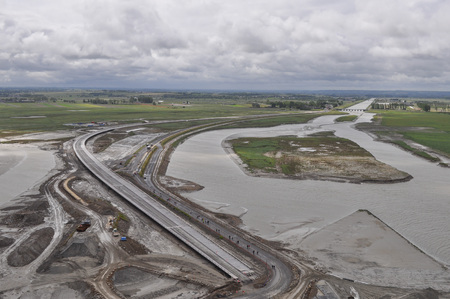 MONT SAINT MICHEL, FRANCE - JUNE 04, 2014: Roadworks around Mont Saint Michel Abbey and fortifications in Normandy France Editorial
