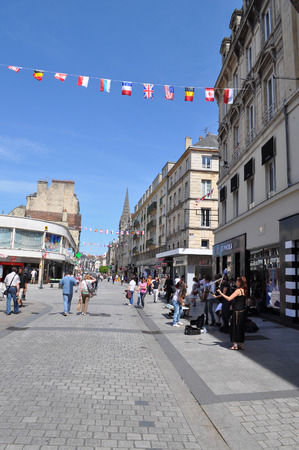 basse normandy: CAEN, FRANCE - JUNE 06, 2014: Tourists visiting the town of Caen in the Calvados departement in Basse Normandie France