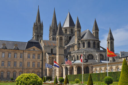 rathaus: City hall and cathedral in Caen in France Stock Photo