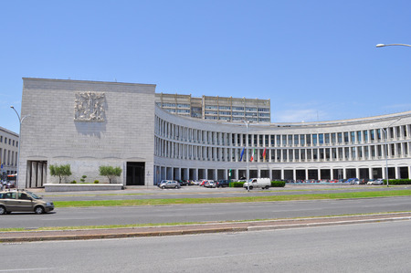fascist: ROME, ITALY - JUNE 23, 2014: INPS Istituto Nazionale della Previdenza Sociale meaning National Institute of Pensions in a masterpiece of Fascist architecture
