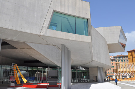 ROME, ITALY - JUNE 24, 2014: The Maxxi museo nazionale delle arti del XXI secolo meaning National Museum of the 21st Century Arts is a national museum of contemporary art designed by British architect Zaha Hadid in 2010