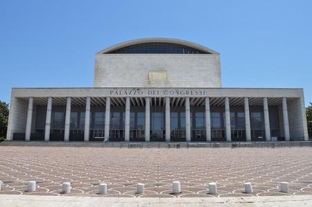 fascist: ROME, ITALY - JUNE 23, 2014: Palazzo dei Congressi meaning Conference Centre