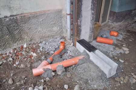 pipework: Plastic pipework for underground waste water Stock Photo