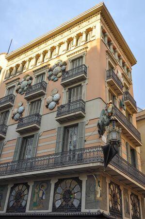 rambla: BARCELONA, SPAIN - FEBRUARY 16, 2015: Casa Bruno Quadros house in La Rambla Editorial