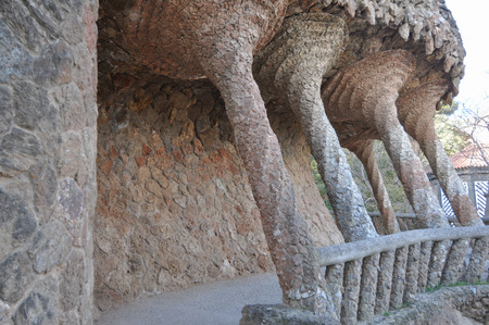 architectonic: BARCELONA, SPAIN - FEBRUARY 15, 2015: The Park Guell aka Parc Guell is a public park system of gardens and architectonic elements located on Carmel Hill designed by Catalan architect Antoni Gaudi Editorial