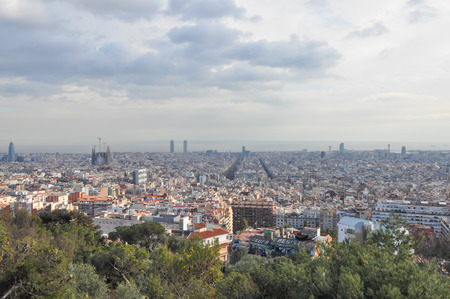 mont: Aerial view of Barcelona from Mont Juic hills