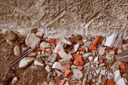 demolition: Vintage looking House ruin debris from demolition Stock Photo
