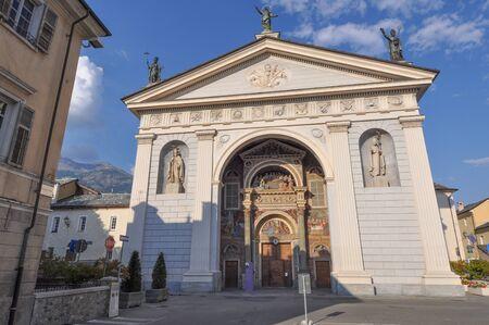 aosta: Aosta Cathedral aka Santa Maria Assunta and San Giovanni Battista church in Aosta, Italy