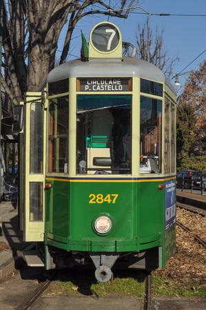 tramway: TURIN, ITALY - CIRCA JANUARY 2016: A vintage historical tramway Editorial