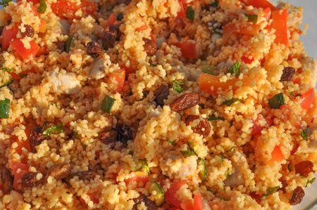 durum: Couscous (aka seksu or kuskus) traditional berber North African steam cooked dish of durum wheat semolina granules Stock Photo
