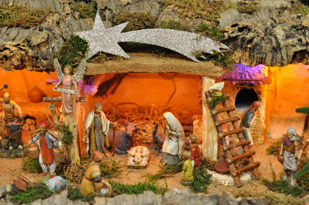 TURIN, ITALY - CIRCA JANUARY 2016: Presepe aka Presepio is a model of the nativity and the adoration of the Magi used in Christian Christmas celebrations