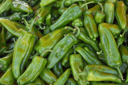 capsicum: Green Peppers (Capsicum) aka bell peppers vegetables vegetarian food Stock Photo