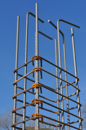 reinforcing: Reinforcing bar aka reinforcing steel or rebar for reinforced concrete structure