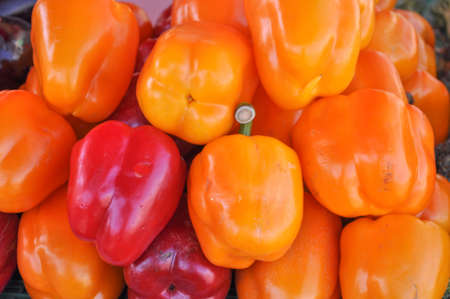 bell peppers: Red and yellow Peppers (Capsicum) aka bell peppers vegetables vegetarian food Stock Photo