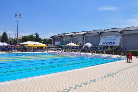 RICCIONE, ITALY - CIRCA JUNE 2016: Stadio del Nuoto (meaning Swim stadium) Editorial