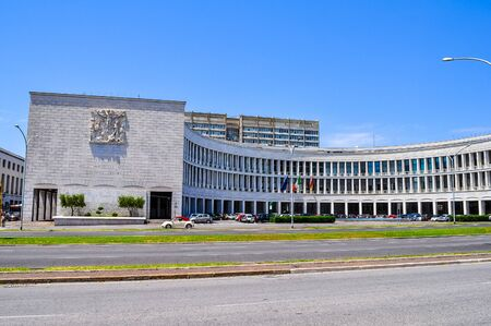 ROME, ITALY - JUNE 23, 2014: High_dynamic_range (HDR) INPS Istituto Nazionale della Previdenza Sociale meaning National Institute of Pensions in a masterpiece of Fascist architecture