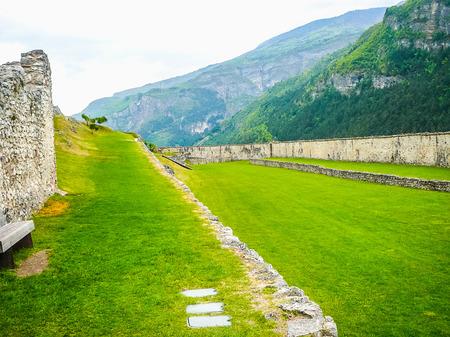 castel: BESENELLO, ITALY - CIRCA APRIL 2016: High_dynamic_range (HDR) Castel Beseno castle (aka Schloss Pysein)